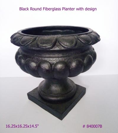 Fiberglass Planter with design in Black #840007
