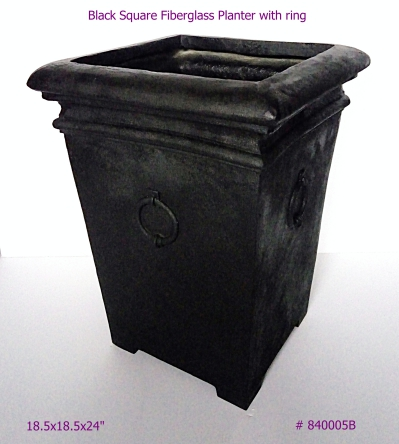 Fiberglass Planter Black Square with ring in Black