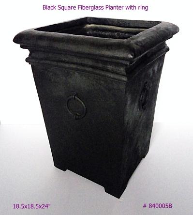 Fiberglass Planter Black Square with ring in Black