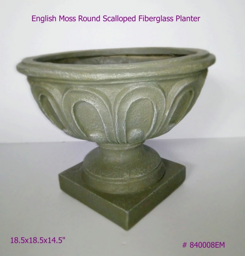 Fiberglass Planter round scalloped in English Moss # 840008