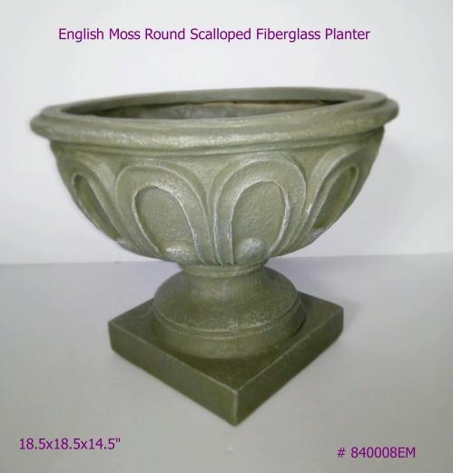 Fiberglass Planter round scalloped in English Moss # 840008
