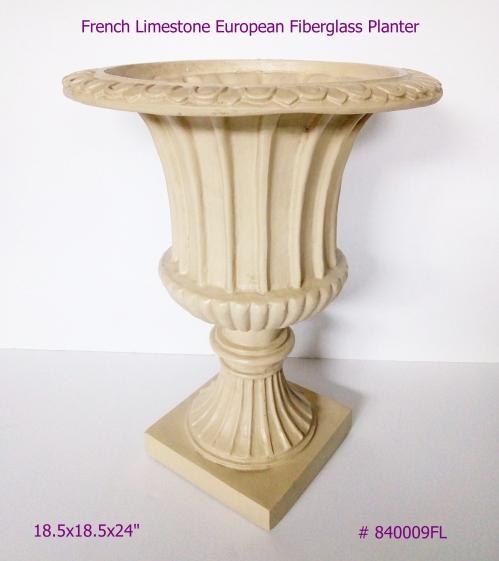 French Limestone Fiberglass Planter European Style