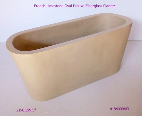 Fiberglass Planter Oval Deluxe in French Limestone