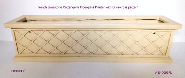 Fiberglass Planter window box rectangular in French Limestone