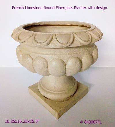 Fiberglass Planter round design in French Limestone # 840007