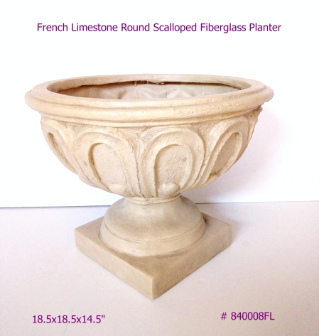 Fiberglass Planter round scalloped in French Limestone # 840008