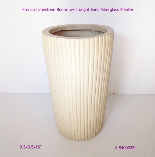 Fiberglass Planter Round with lines French Limstone finish # 840002