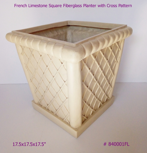 Square Fiberglass Planter with Cross pattern