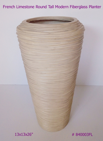 Fiberglass Planter Tall Modern in French Limestone