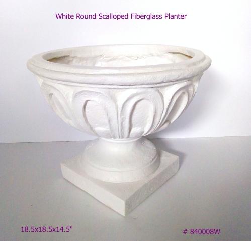 Fiberglass Planter Round Scalloped in White # 840008