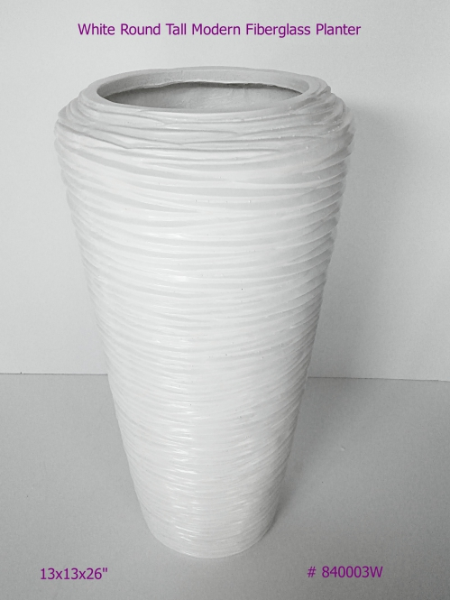 Fiberglass planter tall modern style in White # 840003