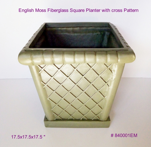 English Moss Fiberglass Square planter with cross pattern