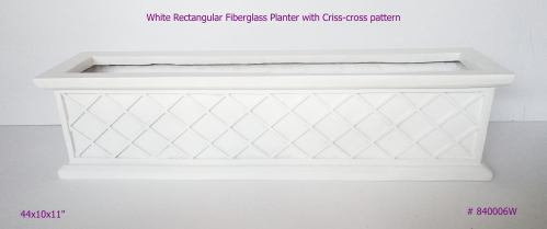 Fiberglass Planter rectangular window box in white 840006