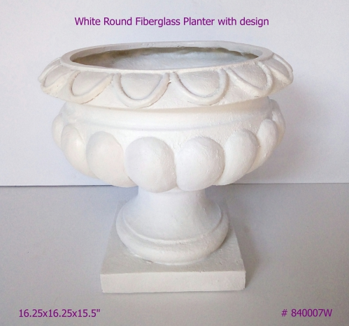 Fiberglass Planter with design in White # 840007