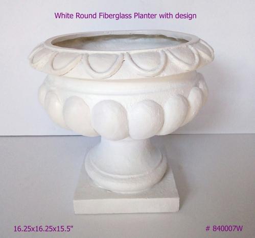 Fiberglass Planter with design in White # 840007