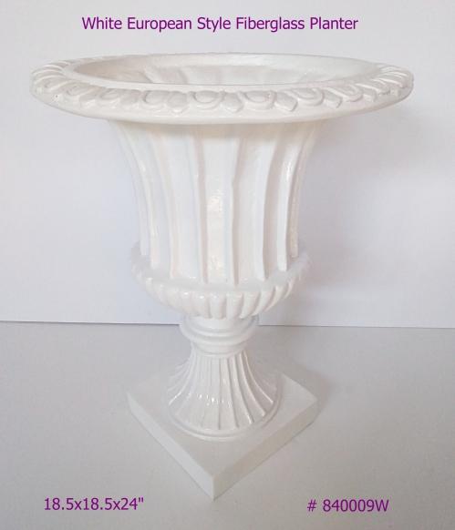 White Fiberglass Planter European Style