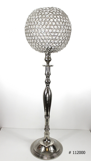 Crystal Ball centerpiece 10 inch on silver base 34 inch tall # 112000