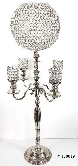 Crystal ball candelabra with crystal votives 46 inch tall # 110019