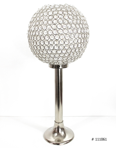 Crystal ball centerpiece 24 inch tall silver # 111061