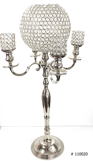 Crystal ball centerpiece silver with crystal votives 37 inch tall # 110020