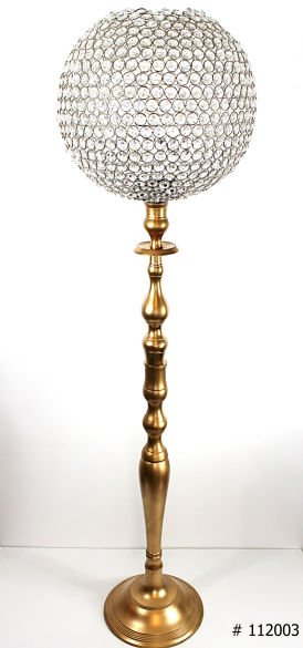 Crystal ball centerpiece with gold base 46 inch tall # 112003
