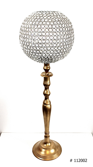 Cyrstal centerpiece with gold stand 38 inch tall # 112002