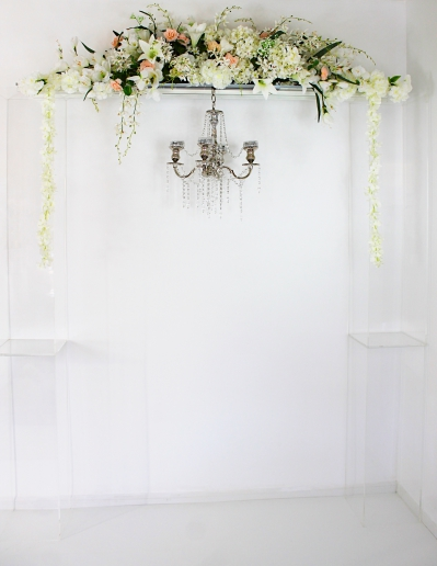 Ghost Arch 2021 with chandelier and floral arrangement