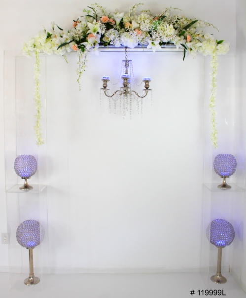 Ghost Arch with crystal balls and color lights with remote and chandelier 90x80