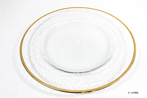 Glass Charger Plate with gold rim 13 inch round # 114000