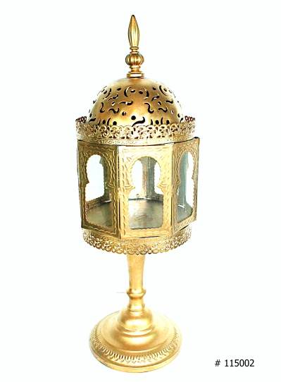 Lantern Arav 7 inches round by 21 inch tall in gold # 115002