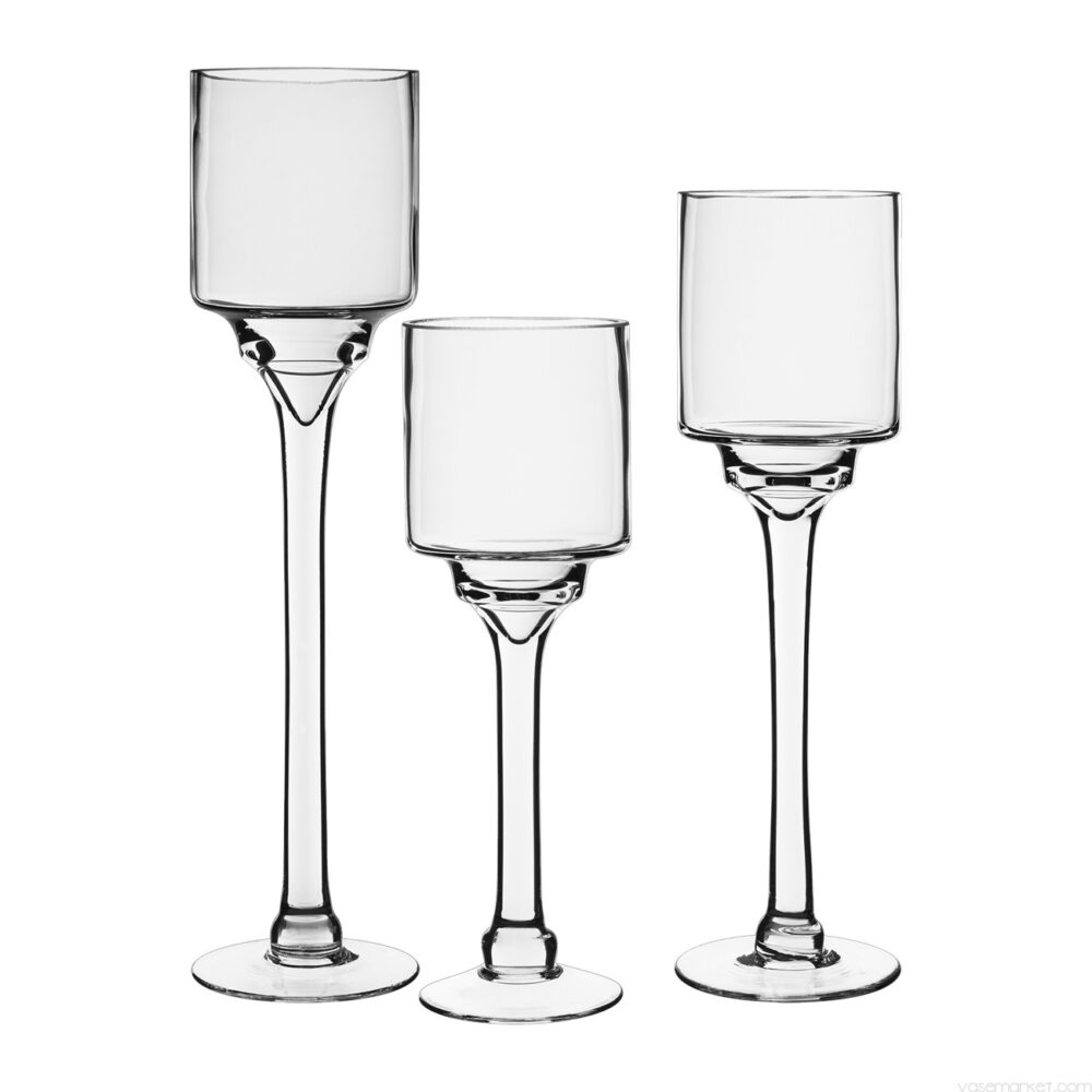 Monet long stem glass candleholder set of 3 12,14,16 inch tall