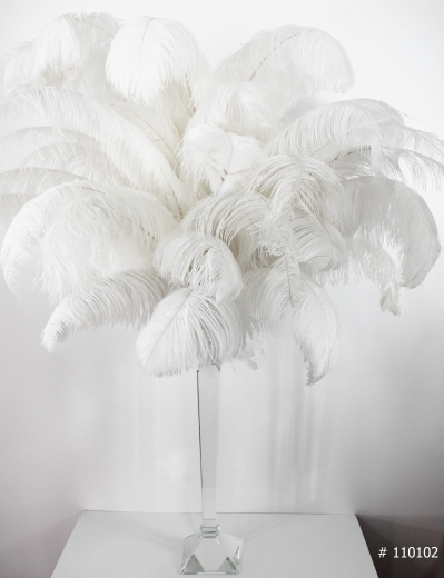 Ostrich Feather Centerpiece on a crystal stand 50 inch tall # 110102