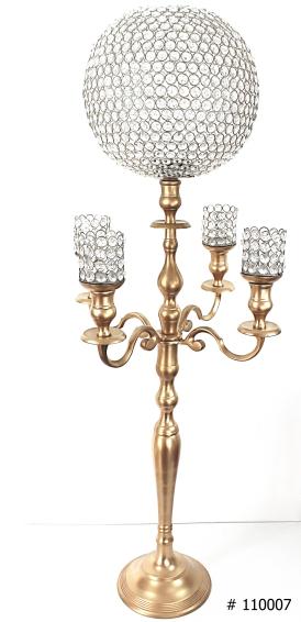 crystal ball candelabra 46 inch tall # 110007