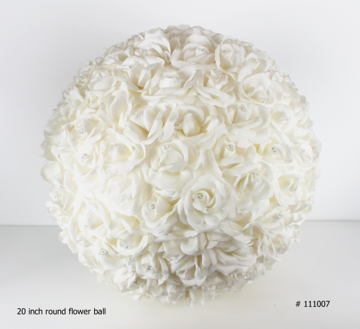 Flower ball 20 inch round with crystals # 111007