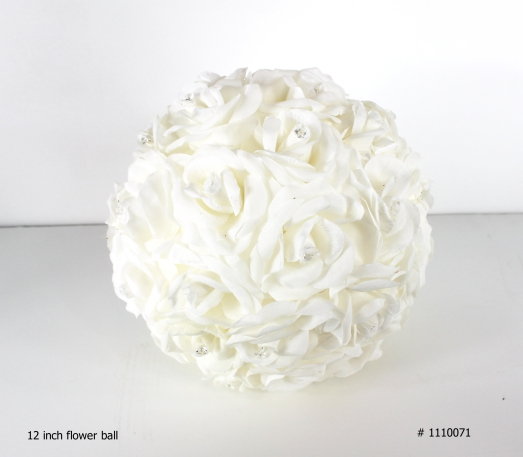 Flower ball with crystals 12 inch round # 1110071