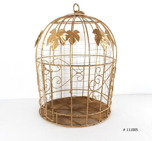Gold Bird Cage money box 15 inch round x 20 inch tall # 111005