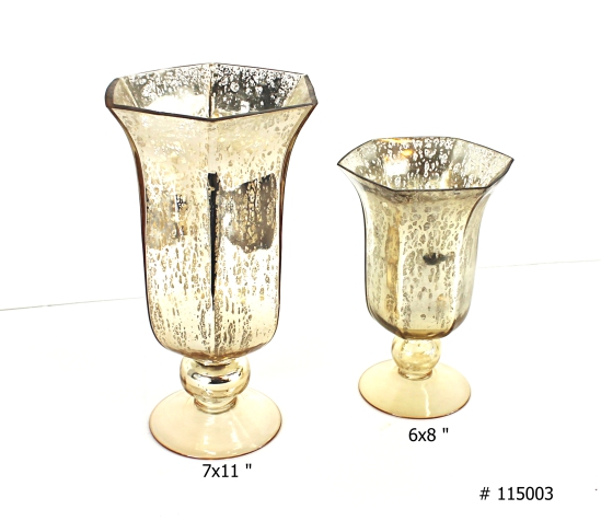 Gold Lida Hurricane Vases # 115003 6x8 and 7x11 inch