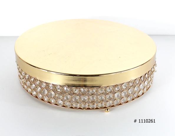 Gold cake stand 16 inch round with crystals around # 1110261