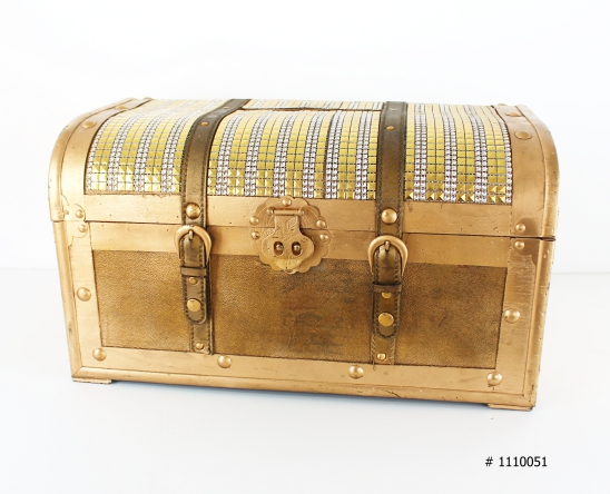 Gold treasure chest 12x18x12 inches tall Money box # 1110051