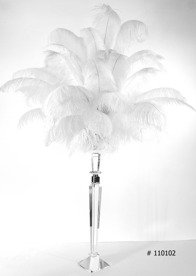 Ostrich Feather Centerpiece with crystal stand 58 inch tall # 110102