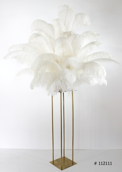 white ostrich feather centerpiece with gold stand 58 inch tall # 112111