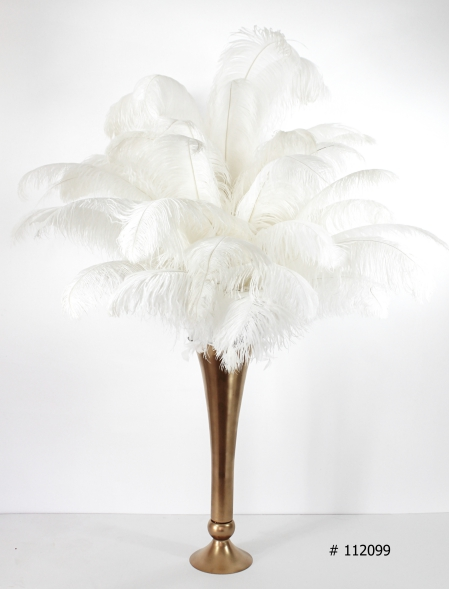 strich Feather centerpiece 55 inch tall with gold vase # 112099