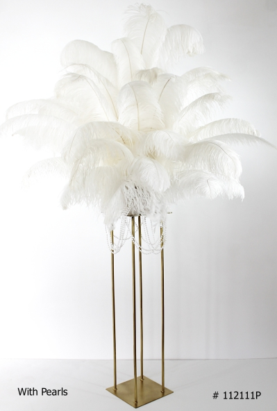 White ostrich feather centerpiece with pearls gold stand # 112111p
