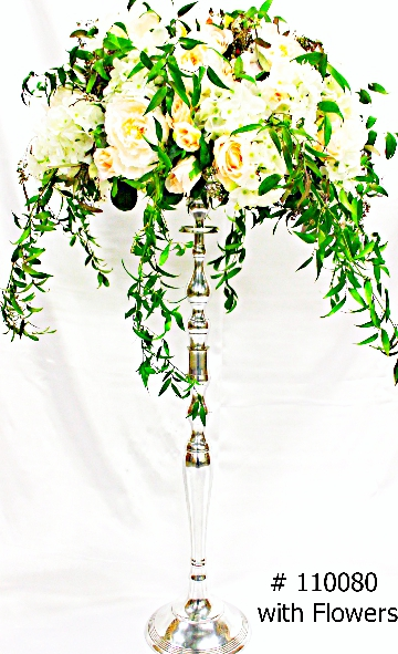 Silver-Candelabra-35-inch-tall-with-7-inch-plate-with-flowers-110080