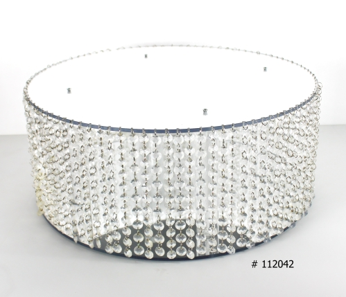 Silver cake stand 20 inch round with crystals hanging # 112042
