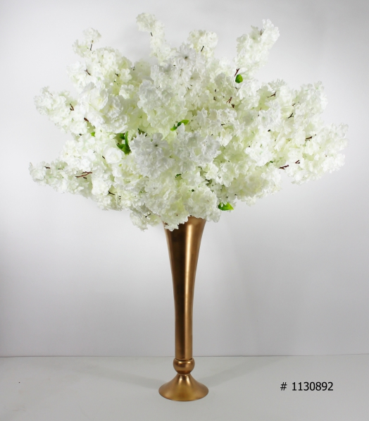 White Cherry blossom centerpiece 50 inch tall with gold vase # 1130892