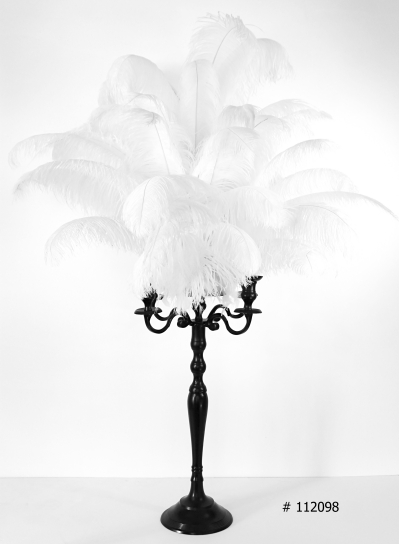 White Ostrich Feather Centerpieces with black candelabra 58 inch tall # 112098