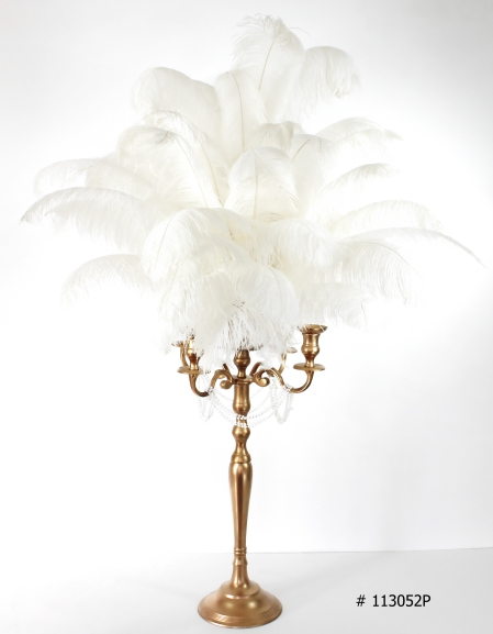 White Ostrich feather Centerpiece with gold candelabra and pearls hanging 58 inch tall # 113052P