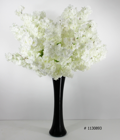 White cherry blossom centerpiece with black vase 50 inch tall # 1130893