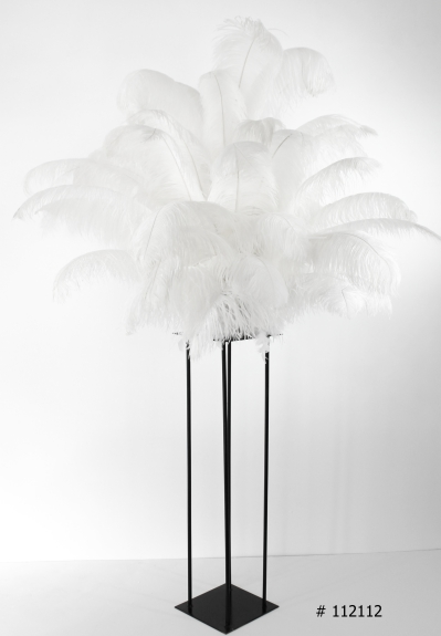 White feather centerpiece with black harlow stand # 112112 58 inch tall